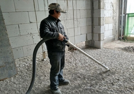 Cleaning work at a construction site