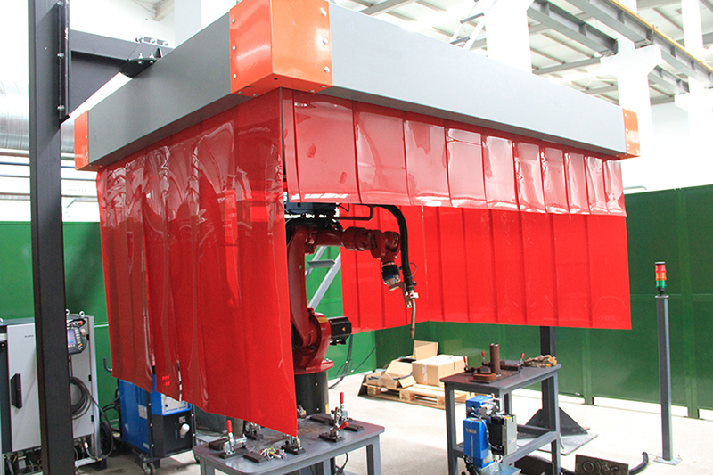 Dust extraction hood-protective curtain use case